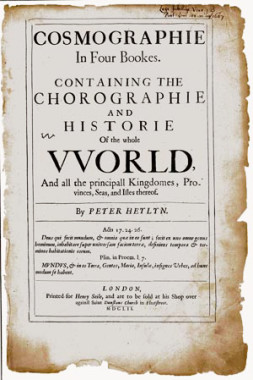 "Cosmographie, by Peter Heylin, London, 1652. Acquired by the Jersey City Free Public Library on September 25, 1901. According to John Beekman, Assistant Manager at the New Jersey Room, the volume "" describes the known world and ends with an appendix on terra incognito, including a section on the peoples of the moon."" The volume is on display as a complement to our exhibition."