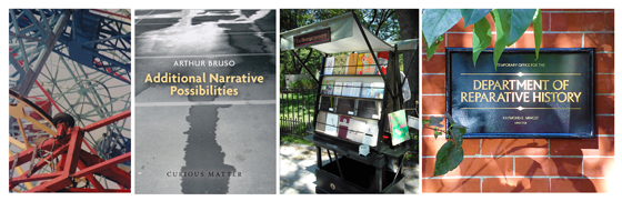 left to right: an image and the invitation to Additional Narrative Possibilities; Le Bouquiniste; the entrance to the Department of Reparative History