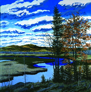 Neil Welliver's paintings looked great. This jpeg doesn't reveal why. (It's the paint.)