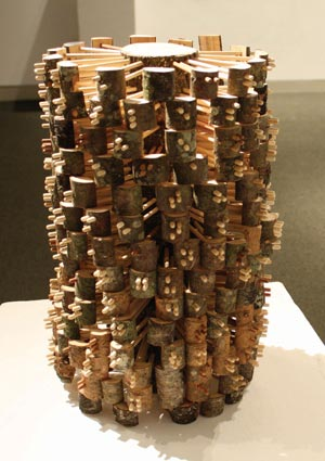 Ben Pranger Countless Rings, 2008 Wooden log and dowels, Braille text by Emerson, 7 X 11 X 11 inches.