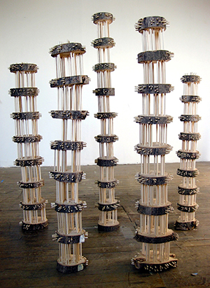 Ben Pranger, Dark Wood, 2009 42 X 6 X 6 inches, wooden logs and dowels Braille text: Dante, Inferno